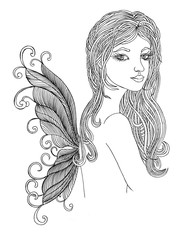 Fairy with beautiful hair and wings
