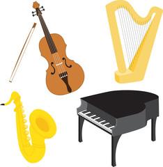 Cartoon music instruments set 1