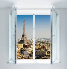 Window with Eiffel tower and roofs view