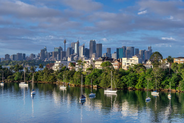 Looking across Mosman Bay to the Central business district of Sydney