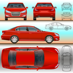 car red set illustration all view color and outline drawing