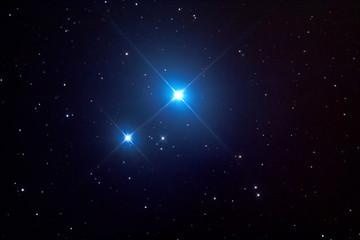 Mizar (double star) and Alcor (star) in Ursa Major constellation. Mizar (stella doppia) e Alcor (stella) nella costellazione dell'Orsa Maggiore.