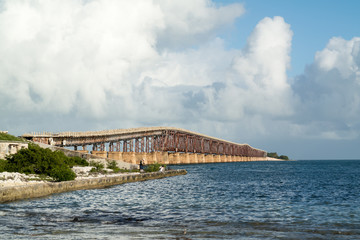 View of old Bahia Ronda Rail Bridge from Spanish Harbor Key, Florida Keys, USA