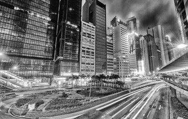 HONG KONG - APRIL 3, 2014: Black and white modern skyline at nig