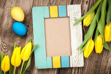 Easter background with blank frame