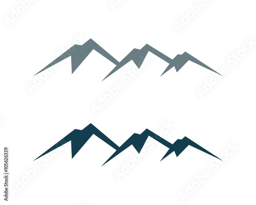 two colors mountain logo template stock image and royalty free
