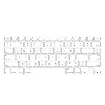 White computer keyboard button layout template with letters, vector illustration eps 10