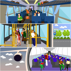 Passengers public transport concept vector banners set. People in bus, train and airplane