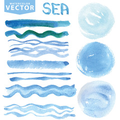 Watercolor stains,brushes,waves.Blue sea,ocean. Summer set