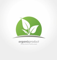 Organic product logo design idea. Healthy food for healthy people creative concept. Organic farm fresh products unique sign or icon.