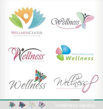 Wellness center logo design concept. Spa and massage symbol template. Healthy life style coaching icon template. Colorful abstract shape with butterfly and human figure.
