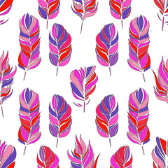 Vector seamless pattern with feathers. Vector endless background. It can be used for fabrics, wallpapers, backgrounds for web pages.