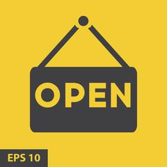 Open Icon. Open Sign. yellow icon. vector