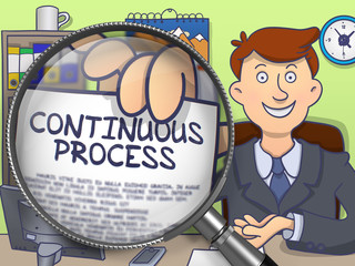 Continuous Process on Paper in Man's Hand to Illustrate a Business Concept. Closeup View through Magnifying Glass. Colored Doodle Style Illustration.