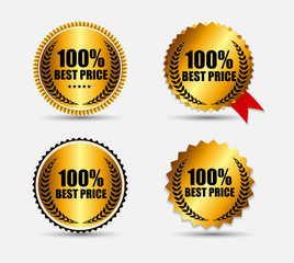 100 % Best Price Label Set Vector Illustration