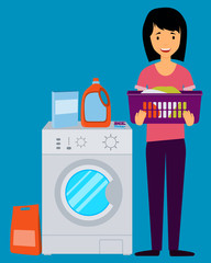 Woman holding clothes near the washing machine. Vector illustration
