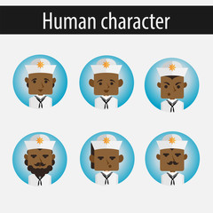 set men African American character sailor