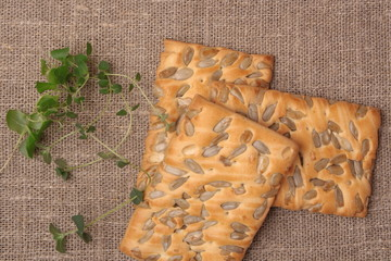 cookies with sunflower seeds on fabric