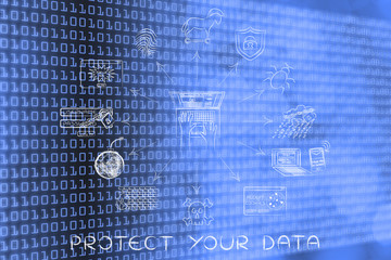 cyber security and privacy icons, protect your data