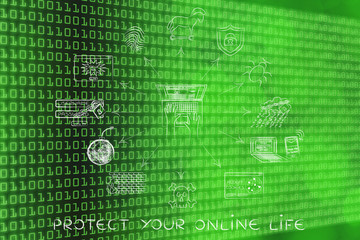 cyber security and privacy icons, protect your online life