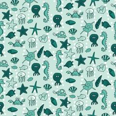 Seamless pattern with sea animals