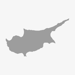 Map of Cyprus in gray on a white background