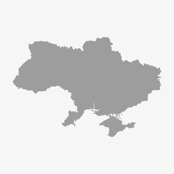 Map of Ukraine in gray on a white background