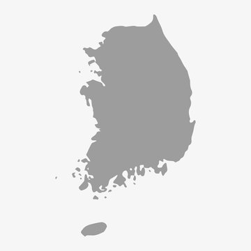 Map of South Korea in gray on a white background