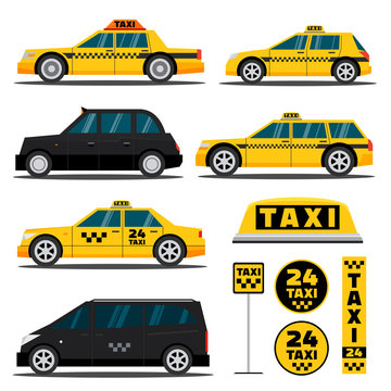Modern and classic taxi cars