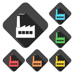 Factory icons set with long shadow
