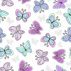 Vector seamless pattern with hand drawn colored butterflies
