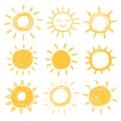 Funny doodle suns
