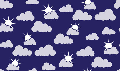 Vector seamless pattern of clouds and sun. Chaotic clouds and the sun