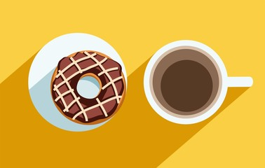 Coffee and a chocolate doughnut, colour illustrations.