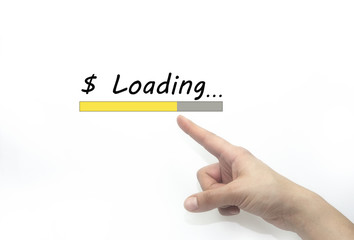 Design of progress bar, loading an Money and dollar with hand