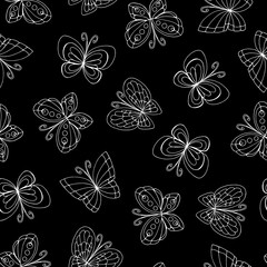 Vector seamless pattern with hand drawn isolated butterflies on