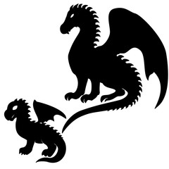 Adult and baby dragon silhouettes