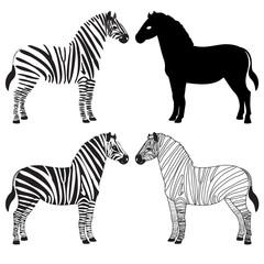 Zebra silhouettes set