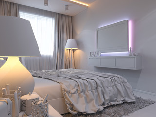 3d rendering of bedroom interior design in a modern style.