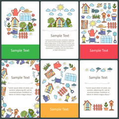 Vector set of colored cards with hand drawn symbols of garden and spring