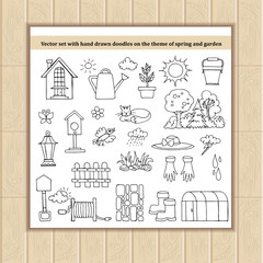 Vector set with hand drawn isolated doodles on the theme of spring and garden