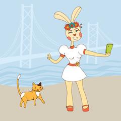 Sexy rabbit girl taking Selfie Photo On Smart Phone
