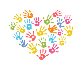 Vector illustration of a colorful childrens hand print heart