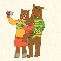 Bears family taking Selfie Photo On Smart Phone