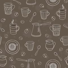 vector seamless coffee pattern