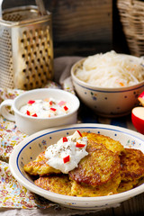potato fritters with cottage cheese