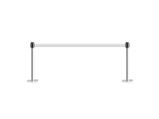 Mobile fence barrier stand isolated on white. Fencing barricade on metal chrome pole posts. Portable protective rack with ribbon stretch tape. Protection fence from crowd. Post fencing barrier belt.