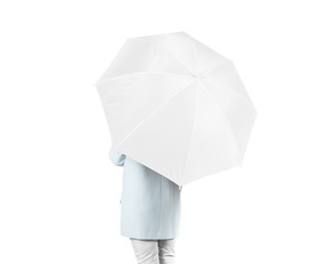 Women stand backwards with white blank umbrella opened mock up isolated. Female person hold clear umbel overhead. Plain surface gamp mockup. Man holding protective accesory gingham cover handle.