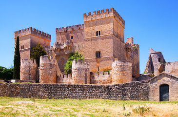 Medieval castle of Ampudia  in summer