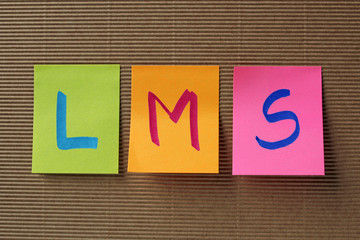 LMS (Learning Management System) acronym on colorful sticky note